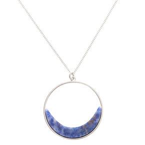Silver Lapis Lazuli Crescent Moon Long Pendant Necklace - Blue,