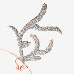 Rose Gold Glitter Antler Ears Headband,