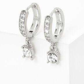 Silver 10MM Crystal Drop Huggie Hoop Earrings,