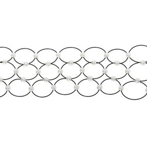 Pearl Three Row Tattoo Choker Necklace - Black,