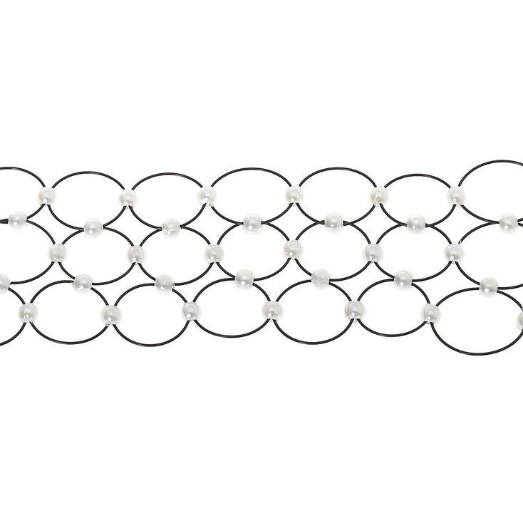 Pearl Three Row Tattoo Choker Necklace - Black,