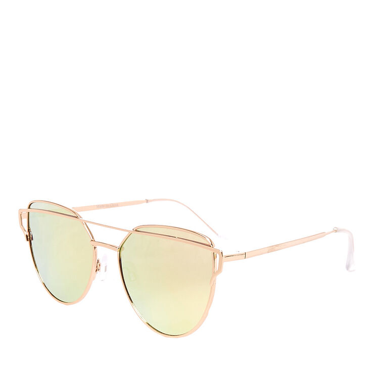 e50a939f75d Rose Gold Mirrored Cat Eye Sunglasses