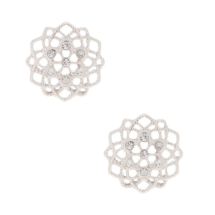 Silver Filigree & Rhinestone Stud Earrings,