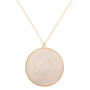 Gold Iridescent Long Pendant Necklace - White,