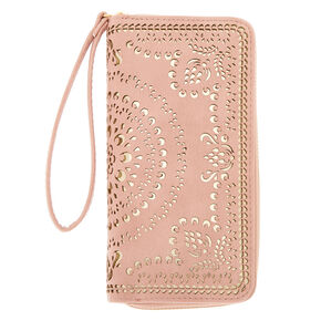 Gold Filigree Cut Perforated Wristlet - Pink,
