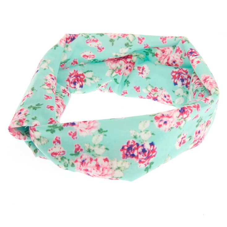Mint Roses Wide Jersey Headwrap,