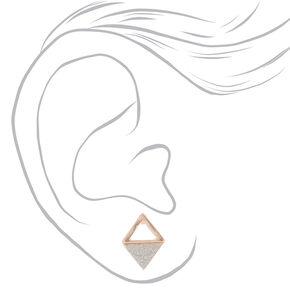 Rose Gold & Glitter Stud Earrings - 6 Pack,