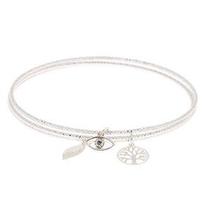 Silver Nature Charm Bangle Bracelets - 3 Pack,