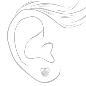 Cubic Zirconia 8MM Heart Stud Earrings,
