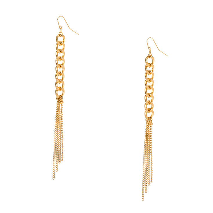 Gold Tone  Chain Link & Fringe Drop Earrings,