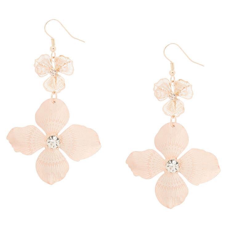 Rose Gold Blush Flower Drop Earrings,