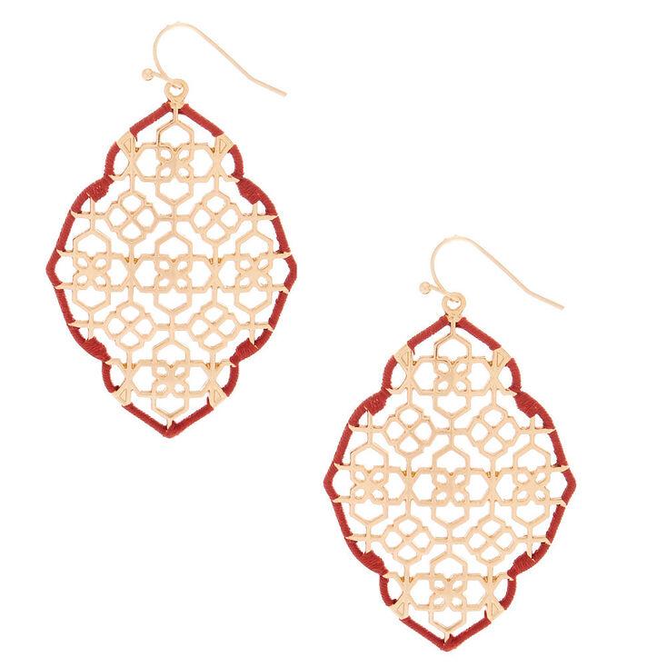 "Gold 2"" Filigree Thread Drop Earrings - Red,"