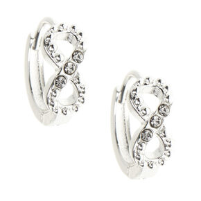Silver 10MM Infinity Huggie Hoop Earrings,