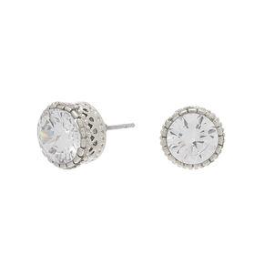 Silver Cubic Zirconia Vintage Round Stud Earrings - 8MM,