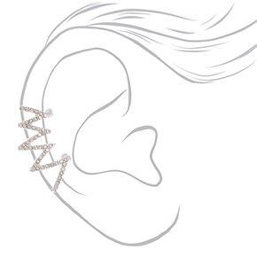 """Silver 1"""" Zigzag Crystal Ear Cuff,"""