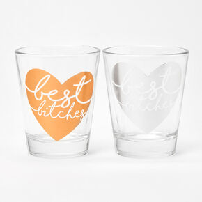 Best Friends Best Bitches Heart Glasses Set - 2 Pack,