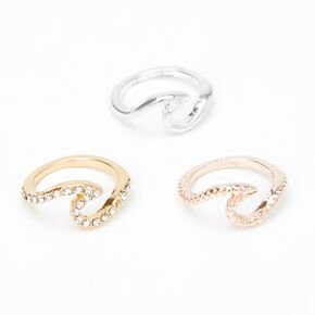 Mixed Metal Wave Midi Rings - 3 Pack,