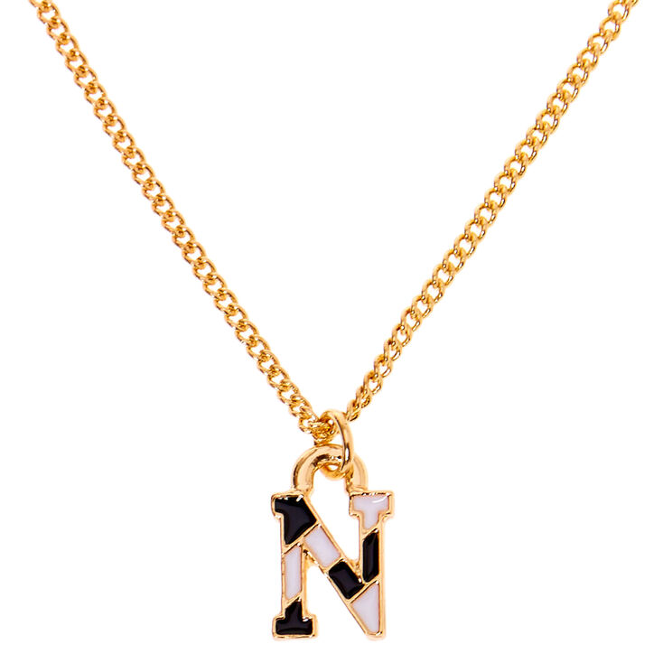 Gold Striped Initial Pendant Necklace - N,