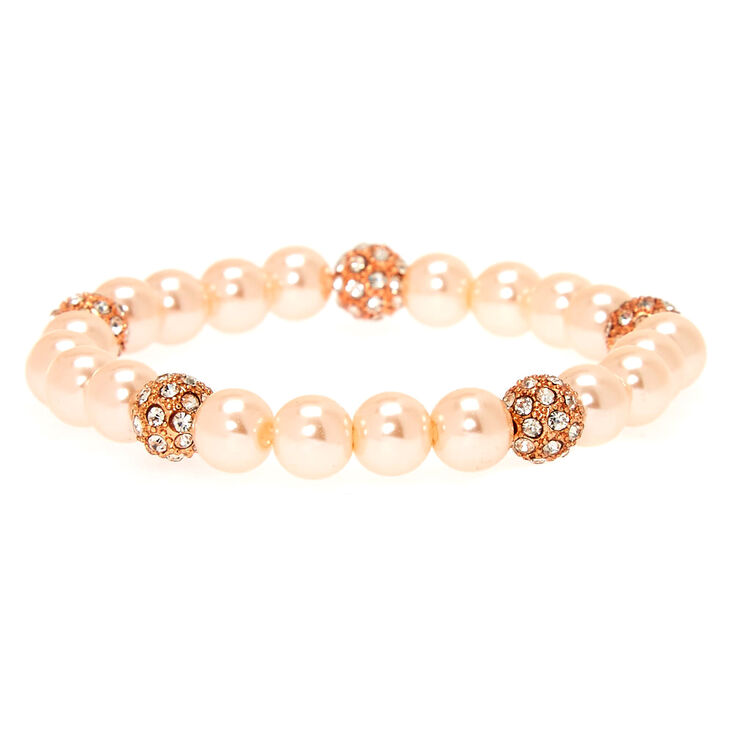 Vintage Style Jewelry, Retro Jewelry Icing Rose Gold Pearl  Fireball Bead Stretch Bracelet $6.99 AT vintagedancer.com