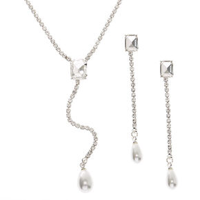 Silver Rhinestone Y-Neck Jewelry Set - 2 Pack,