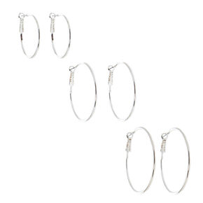 Silver Graduated Hoop Earrings - 6 Pack,