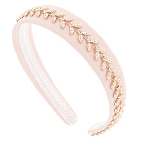 Rose Gold Flower Embroidery Headband - Pink,