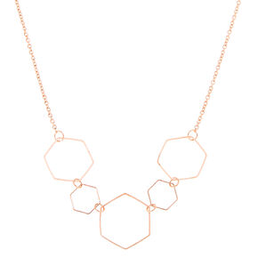Rose Gold Hexagon Statement Necklace,