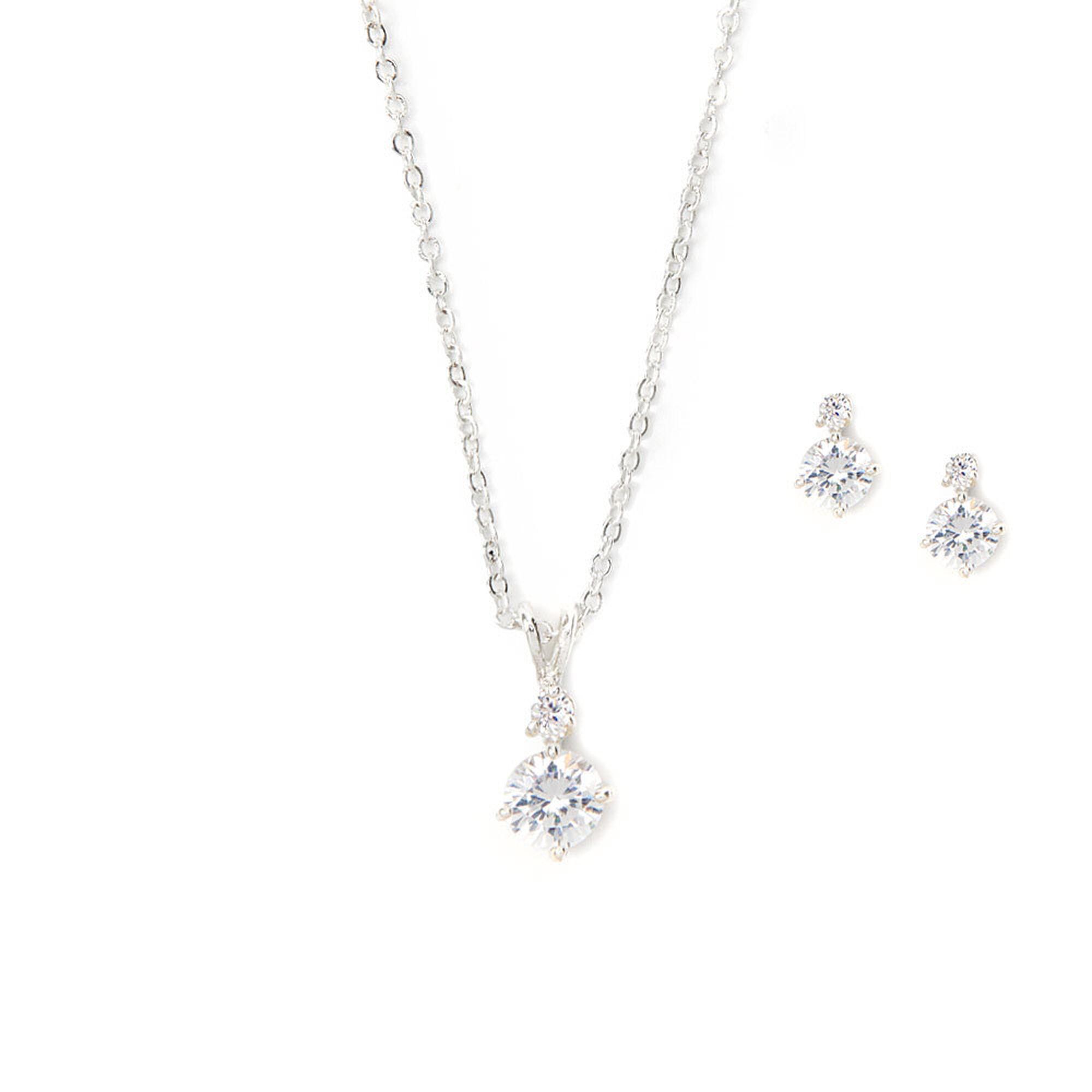 Cubic zirconia diamond drop pendant necklace earrings set icing us cubic zirconia diamond drop pendant necklace earrings set aloadofball Images