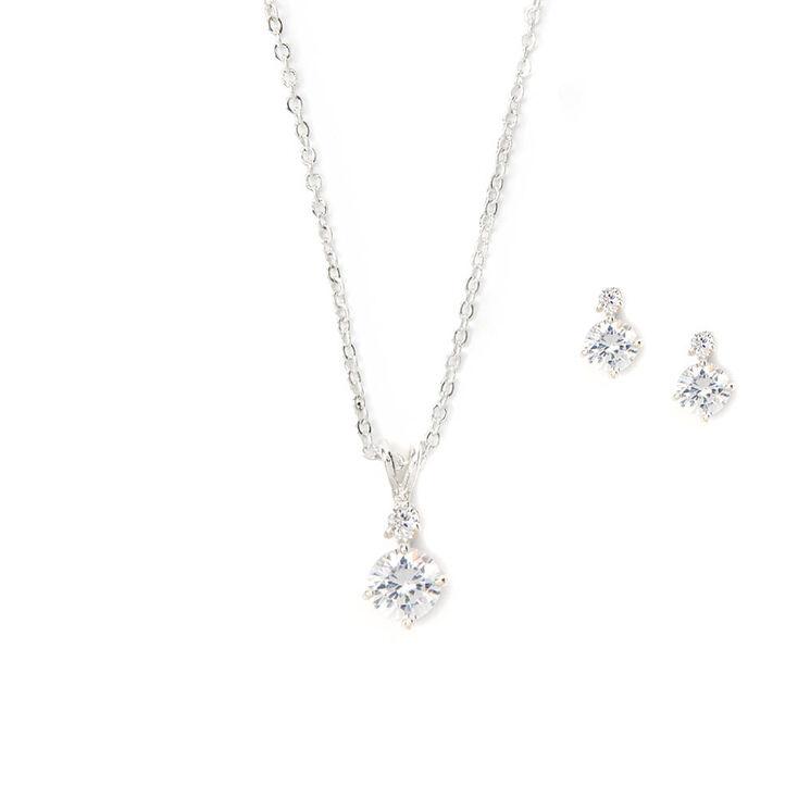 Cubic Zirconia Diamond Drop Pendant Necklace & Earrings Set,