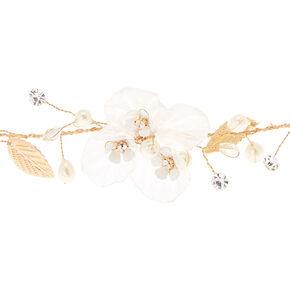 Gold Flower Crown Headwrap - White,