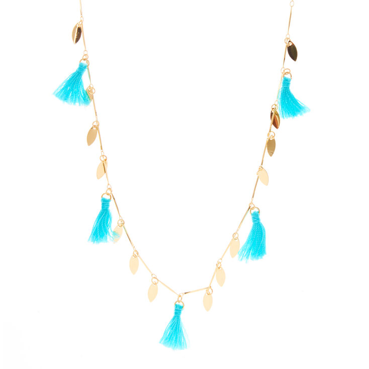 Gold-Tone & Turquoise Tassel Dangle Necklace,