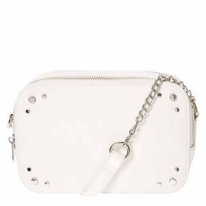 White Faux Leather Crossbody Camera Bag,