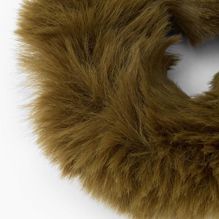 Medium Furry Hair Scrunchie - Olive,
