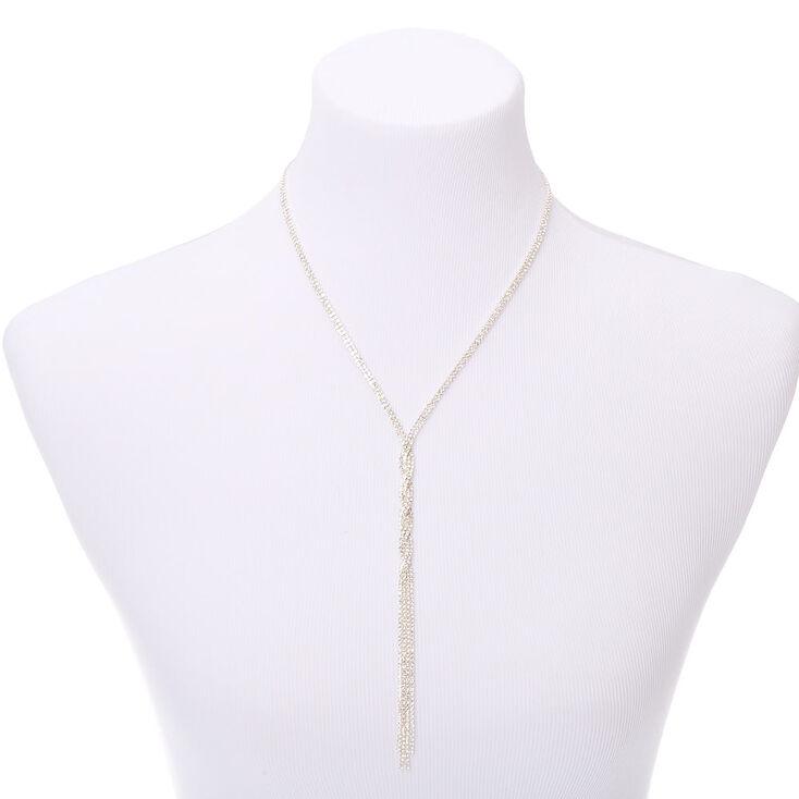 Silver Rhinestone Twist Y-Neck Pendant Necklace,