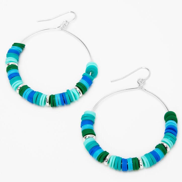 "Silver 2"" Blue & Green Disc Hoop Earrings,"