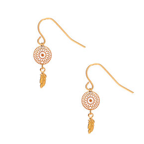 "18kt Gold Plated 1"" Dreamcatcher Drop Earrings,"