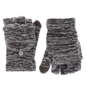 Marled Touch Screen Fingerless Gloves with Mitten Flap - Gray,