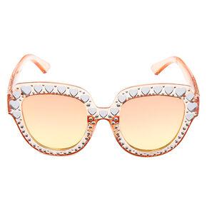 Oversized Embellished Heart Sunglasses - Pink,