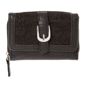 Black Faux Leather with Crochet Wallet,