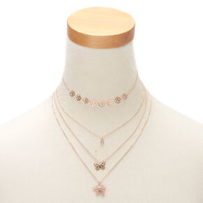 Rose Gold Spring Filigree Multi Strand Choker Necklace,