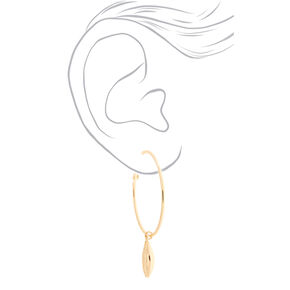 Gold 50MM Puka Shell Hoop Earrings,