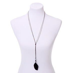 Hematite Double Feather Long Pendant Necklace - Black,