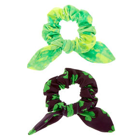Tie Dye Shamrock Knotted Bow Hair Scrunchies - Green, 2 Pack,