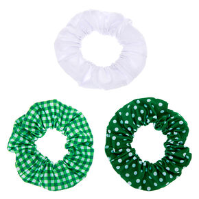 Medium Patterned Hair Scrunchies - Green, 3 Pack,