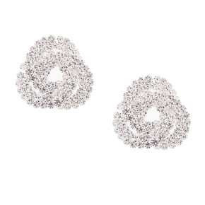 Rhinestone Knot Stud Earrings,