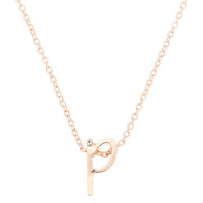 Rose Gold Cursive Initial Pendant Necklace - P,
