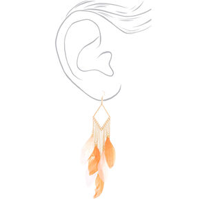 "Gold 6"" Feather Drop Earrings - Coral,"