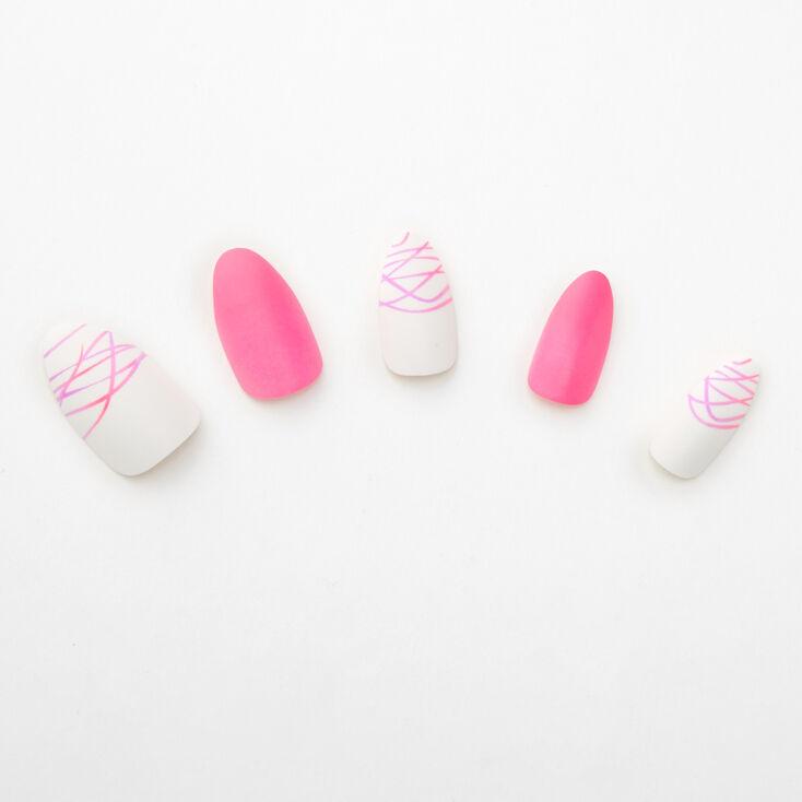 Spider Gel Neon Stiletto Faux Nail Set - Pink, 24 Pack,