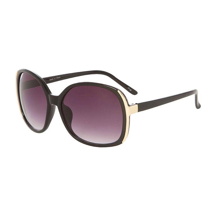 Gold Framed Large Black Oval Sunglasses,