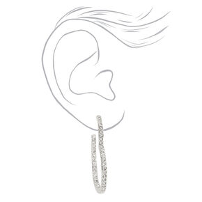 Silver 40MM Embellished Heart Hoop Earrings,
